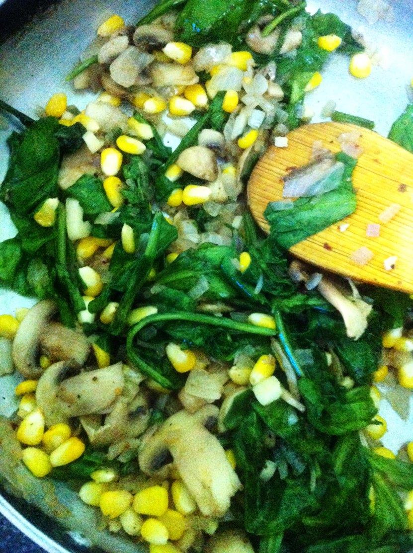 Creamy Spinach, Mushroom and Corn Tart filling