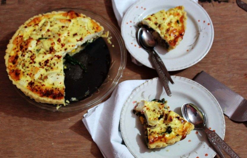 Creamy Spinach, Mushroom and Corn Tart.